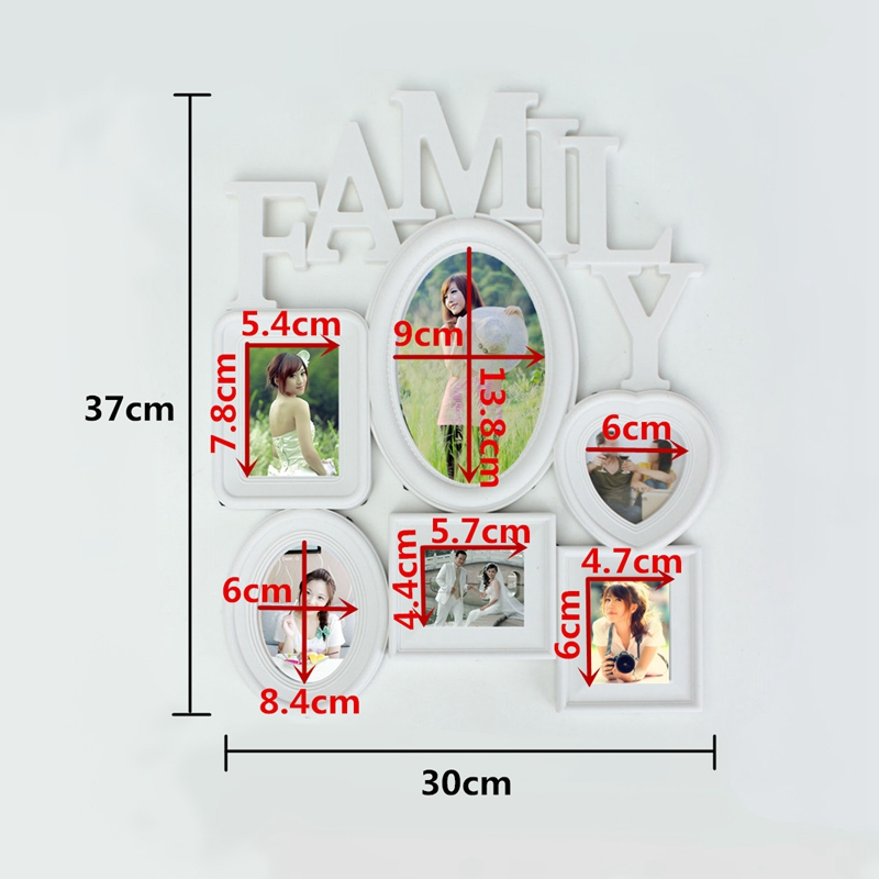 Family-Photo-Frame-Wall-Hanging-6-Multi-Sized-Pictures-Holder-Display-Home-T8W1 thumbnail 14