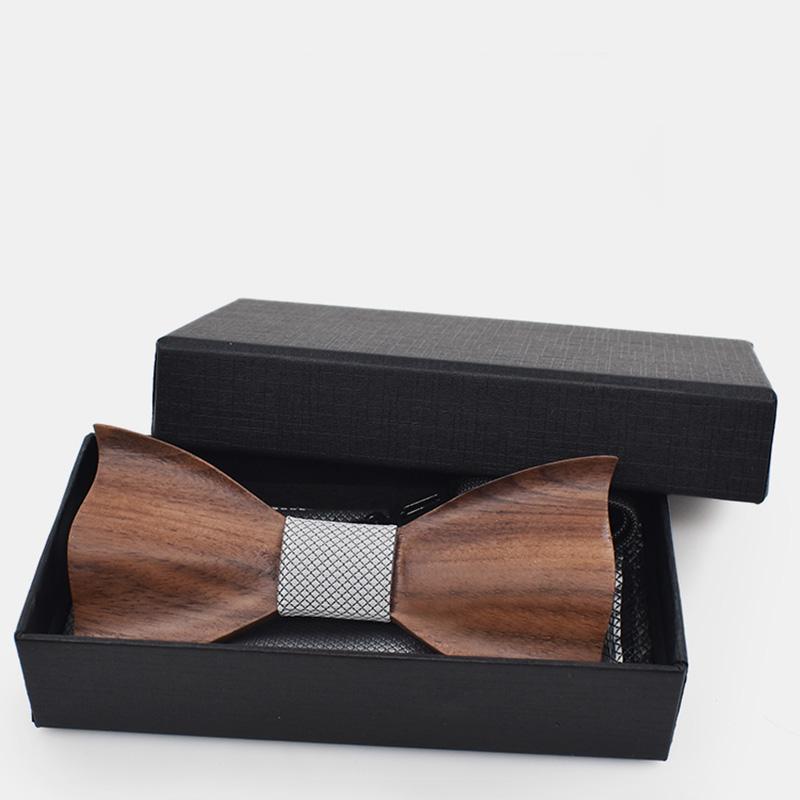 Cravate-en-Bois-3D-Boutons-de-Manchette-CarreS-Noeud-Papillon-en-Bois-une-l-Y6V2 miniature 9