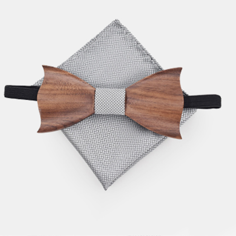 Cravate-en-Bois-3D-Boutons-de-Manchette-CarreS-Noeud-Papillon-en-Bois-une-l-Y6V2 miniature 11