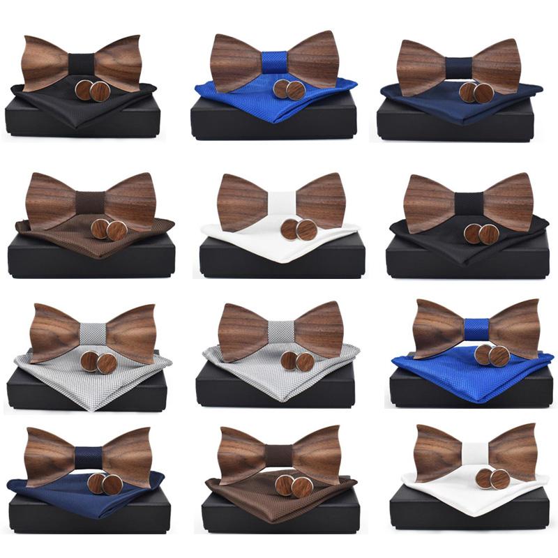 Cravate-en-Bois-3D-Boutons-de-Manchette-CarreS-Noeud-Papillon-en-Bois-une-l-Y6V2 miniature 19