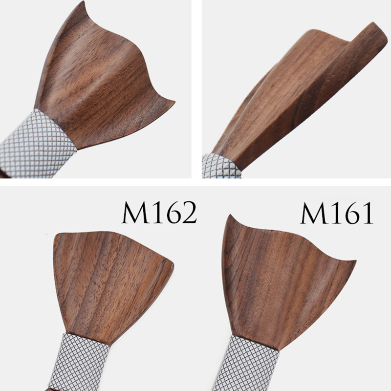 Cravate-en-Bois-3D-Boutons-de-Manchette-CarreS-Noeud-Papillon-en-Bois-une-l-Y6V2 miniature 34