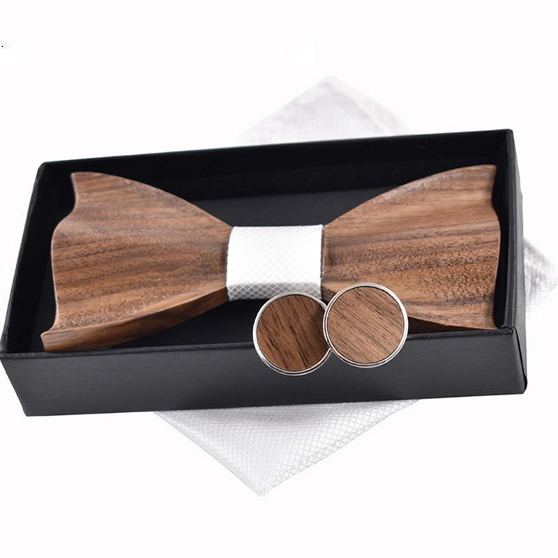 Cravate-en-Bois-3D-Boutons-de-Manchette-CarreS-Noeud-Papillon-en-Bois-une-l-Y6V2 miniature 36