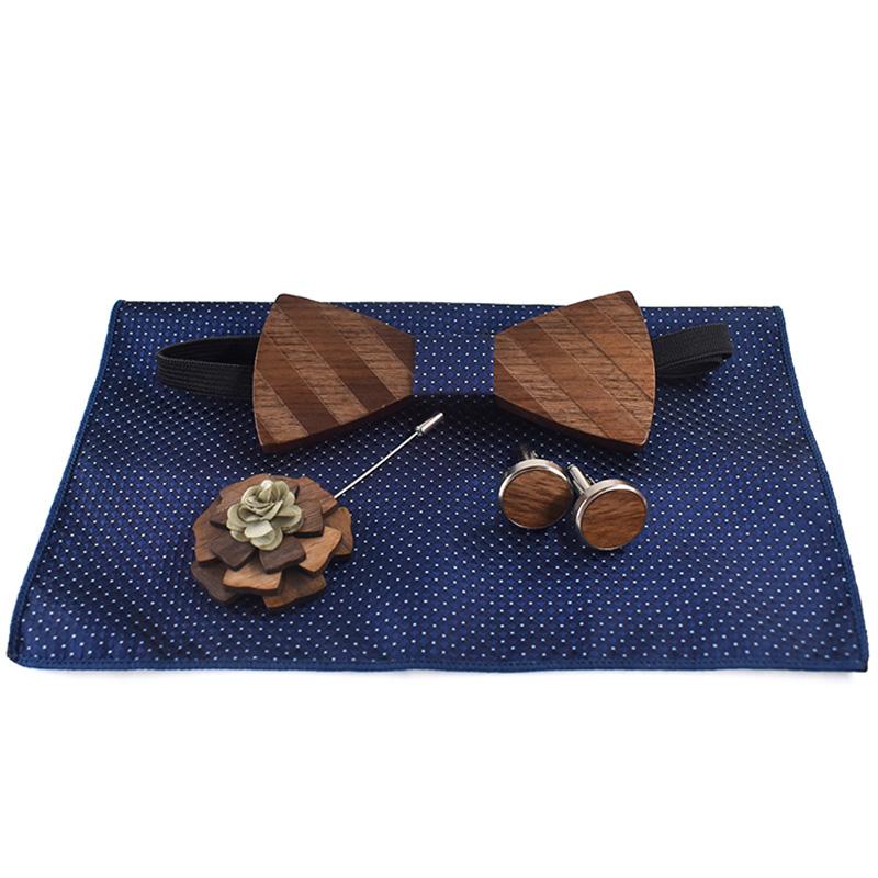 Einstecktuch-Brosche-Gravata-Krawatte-Einstecktuch-ManschettenknoePfe-Set-He-T5G5 Indexbild 3