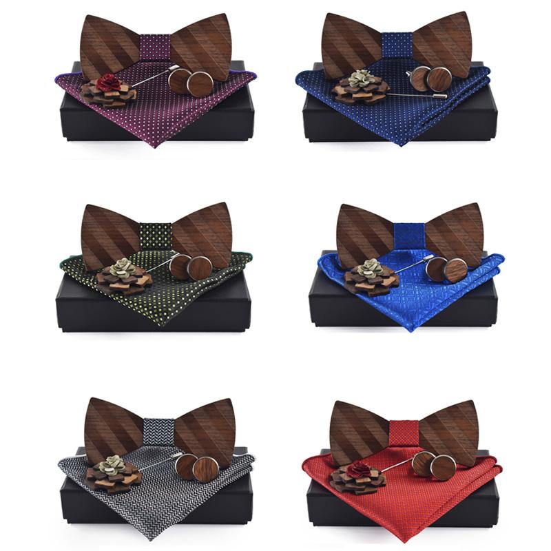 Einstecktuch-Brosche-Gravata-Krawatte-Einstecktuch-ManschettenknoePfe-Set-He-T5G5 Indexbild 19