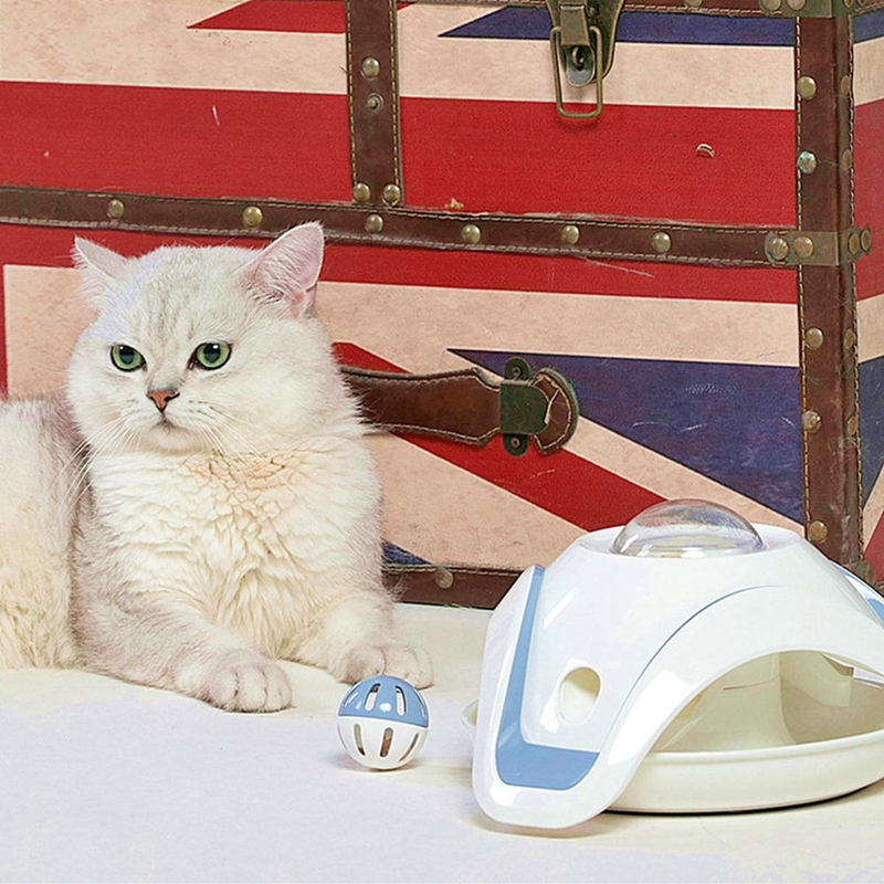 Blue-and-White-Pet-Puzzle-Cat-Toy-Food-Leak-Food-Dispenser-Feeder-Interacti-A5X4 thumbnail 3