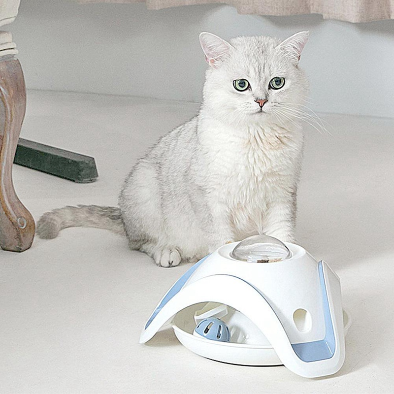 Blue-and-White-Pet-Puzzle-Cat-Toy-Food-Leak-Food-Dispenser-Feeder-Interacti-A5X4 thumbnail 10