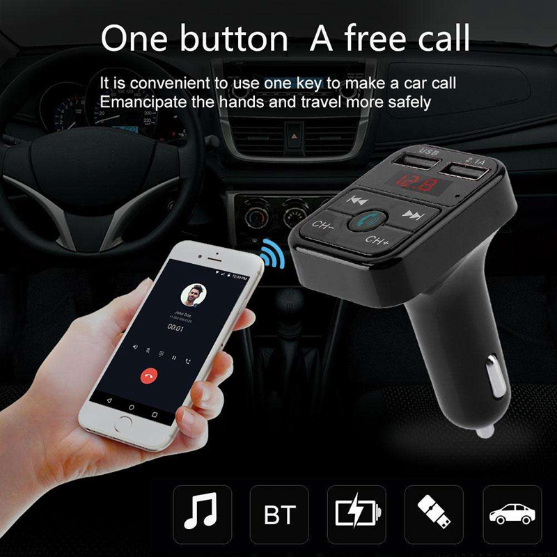 Quelima-B2-Car-Kit-Handsfree-Wireless-Bluetooth-Fm-Transmitter-Lcd-Mp3-F4Q1 miniatuur 5