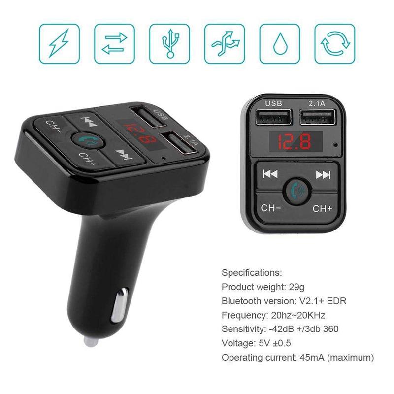 Quelima-B2-Car-Kit-Handsfree-Wireless-Bluetooth-Fm-Transmitter-Lcd-Mp3-F4Q1 miniatuur 7