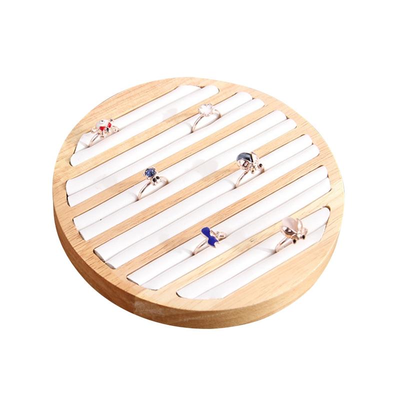 2X-1-StueCk-Ringe-Display-Tray-Holz-Runde-Ring-Halter-Zeigt-Platte-Schmuck-V-O6R6 Indexbild 3