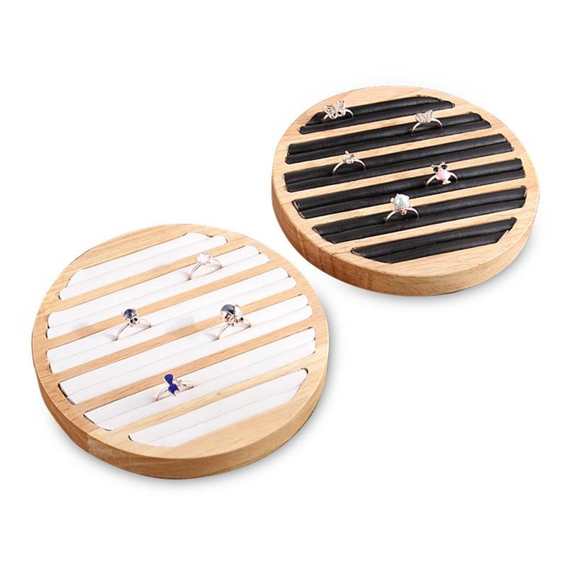 2X-1-StueCk-Ringe-Display-Tray-Holz-Runde-Ring-Halter-Zeigt-Platte-Schmuck-V-O6R6 Indexbild 4