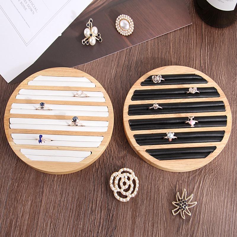 2X-1-StueCk-Ringe-Display-Tray-Holz-Runde-Ring-Halter-Zeigt-Platte-Schmuck-V-O6R6 Indexbild 6