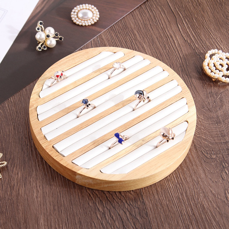 2X-1-StueCk-Ringe-Display-Tray-Holz-Runde-Ring-Halter-Zeigt-Platte-Schmuck-V-O6R6 Indexbild 7