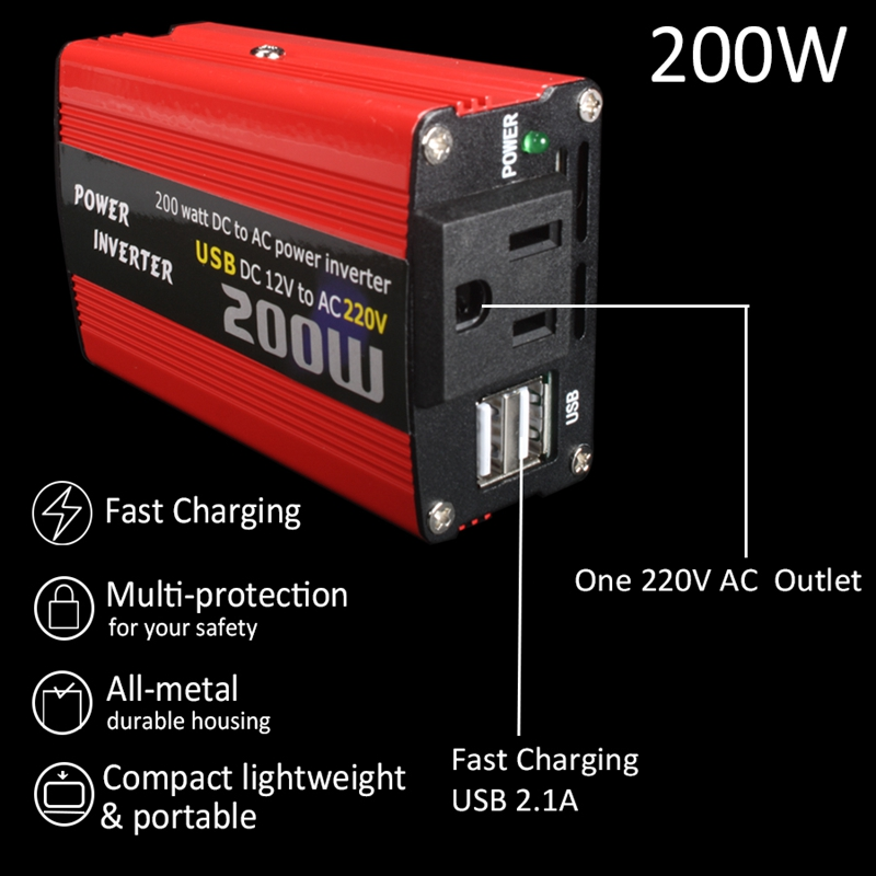 200W-Car-Power-Inverter-Dc-12V-To-Ac-220V-Converter-Dual-Usb-Charger-r-P9Y7 thumbnail 3