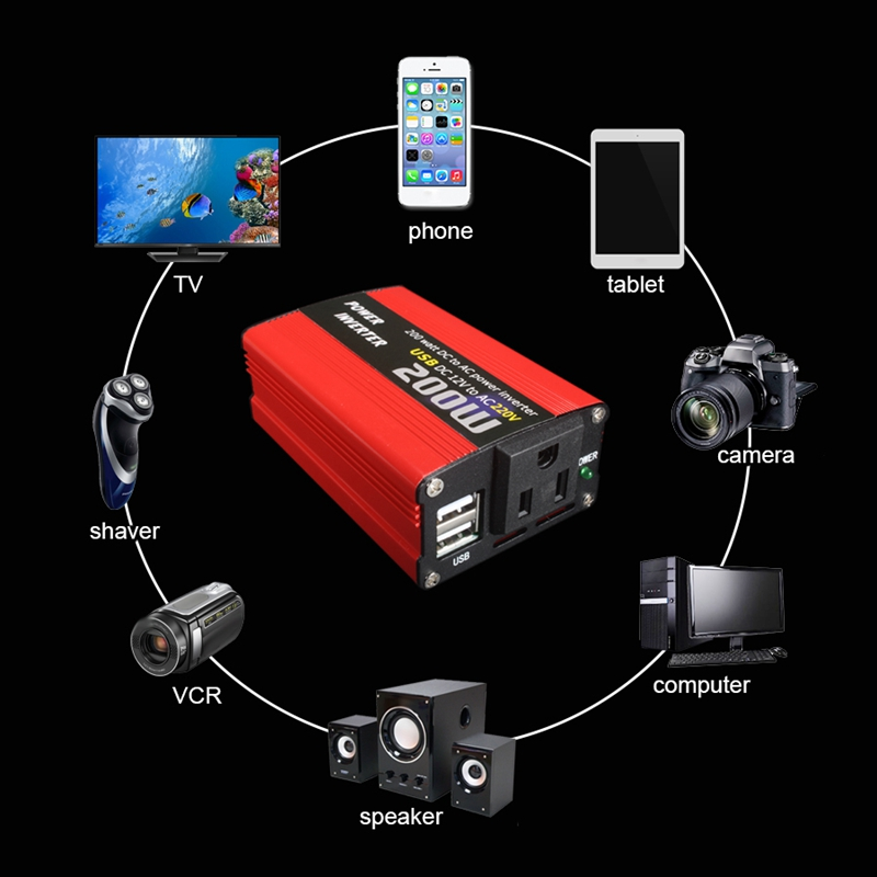 200W-Car-Power-Inverter-Dc-12V-To-Ac-220V-Converter-Dual-Usb-Charger-r-P9Y7 thumbnail 5