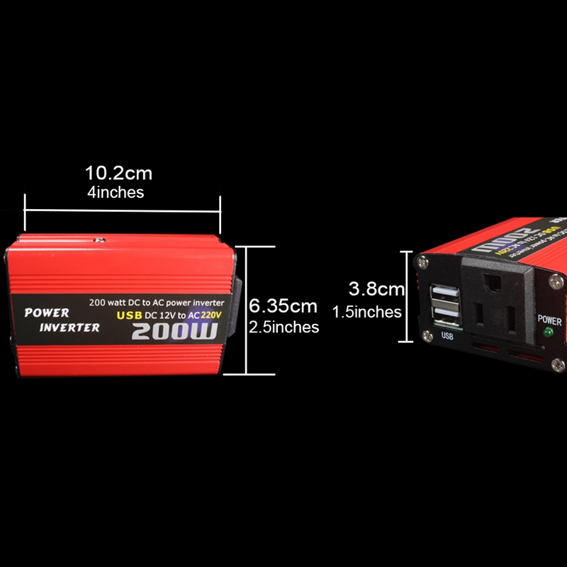 200W-Car-Power-Inverter-Dc-12V-To-Ac-220V-Converter-Dual-Usb-Charger-r-P9Y7 thumbnail 7