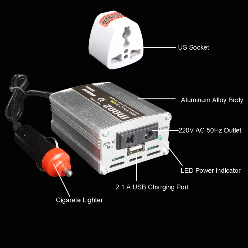 200W-Car-Power-Inverter-Dc-12V-To-Ac-220V-Converter-Dual-Usb-Charger-r-P9Y7 thumbnail 11
