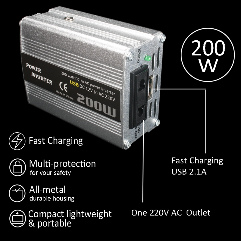 200W-Car-Power-Inverter-Dc-12V-To-Ac-220V-Converter-Dual-Usb-Charger-r-P9Y7 thumbnail 12