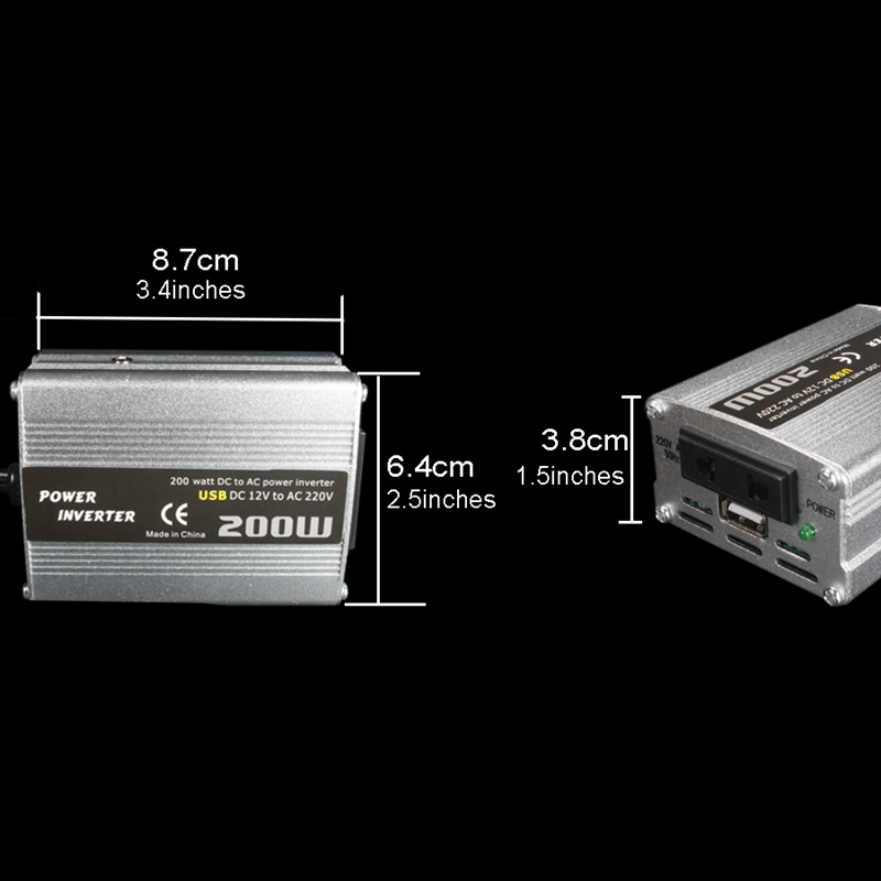 200W-Car-Power-Inverter-Dc-12V-To-Ac-220V-Converter-Dual-Usb-Charger-r-P9Y7 thumbnail 14