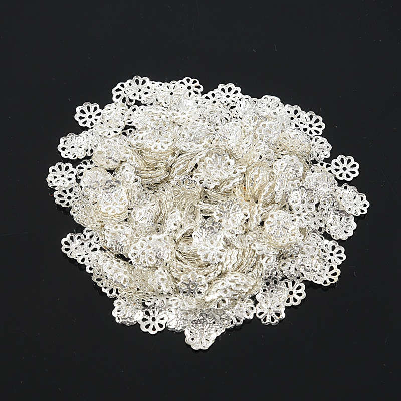 Wholesale Lots Silver Plated Flower Bead Caps 6x5mm Findings
