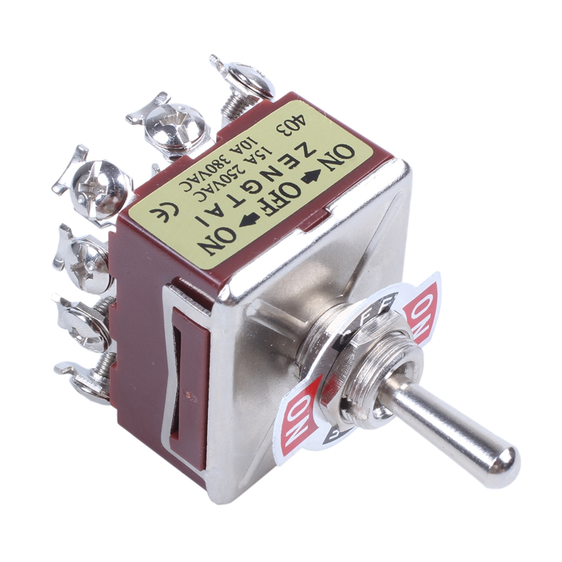 Toggle Switch 3 Position 12 Pin 4PDT ON-OFF-ON 10A//380VAC 15A//250VAC ZP