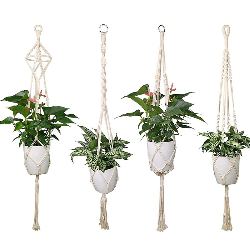 41 inch//105 cm Mkouo 2 Pack Sturdy Plant Hanger Macrame Plant Pot Holder Natural Cotton Rope Hanging Planter Basket Home Decoration for Indoor Outdoor Balcony Ceiling Supplies 4 Legs