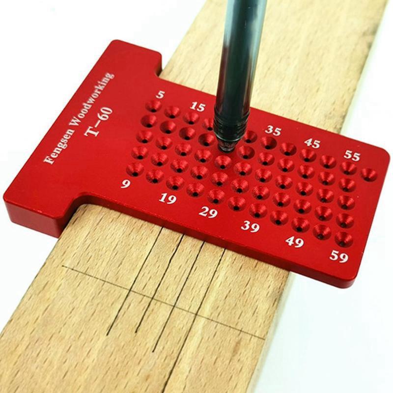 Scribe-a-Bois-T60-ReGle-en-Forme-de-Trou-Jauge-de-TracAge-Aluminium-Pieds-C-X3Q2 miniature 2