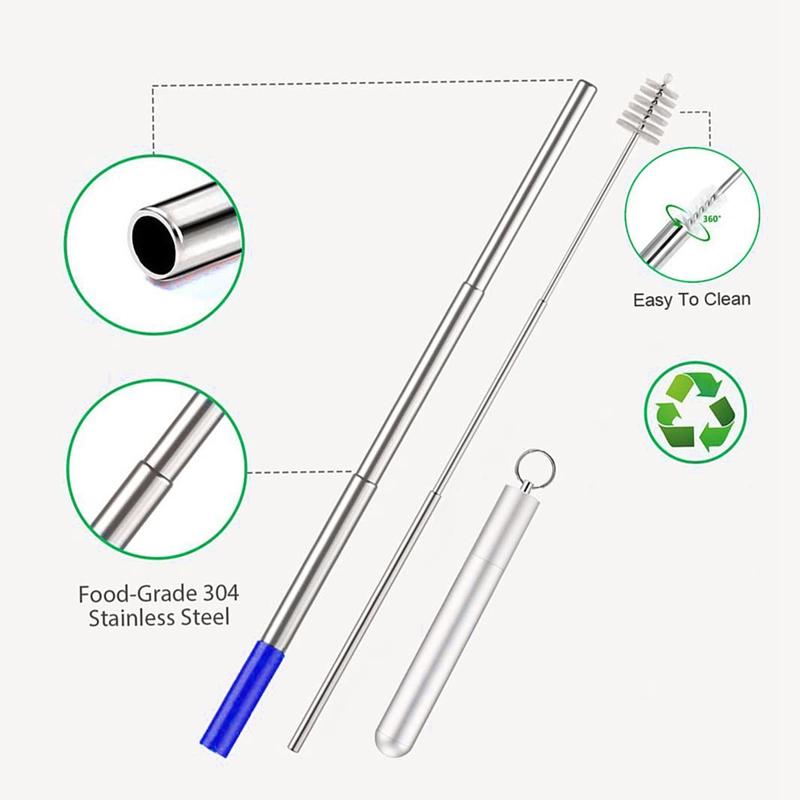 1X-Telescopic-Reusable-Drinking-Straws-Portable-Stainless-Steel-Metal-StrV1F2 thumbnail 3