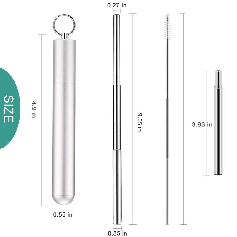 1X-Telescopic-Reusable-Drinking-Straws-Portable-Stainless-Steel-Metal-StrV1F2 thumbnail 4