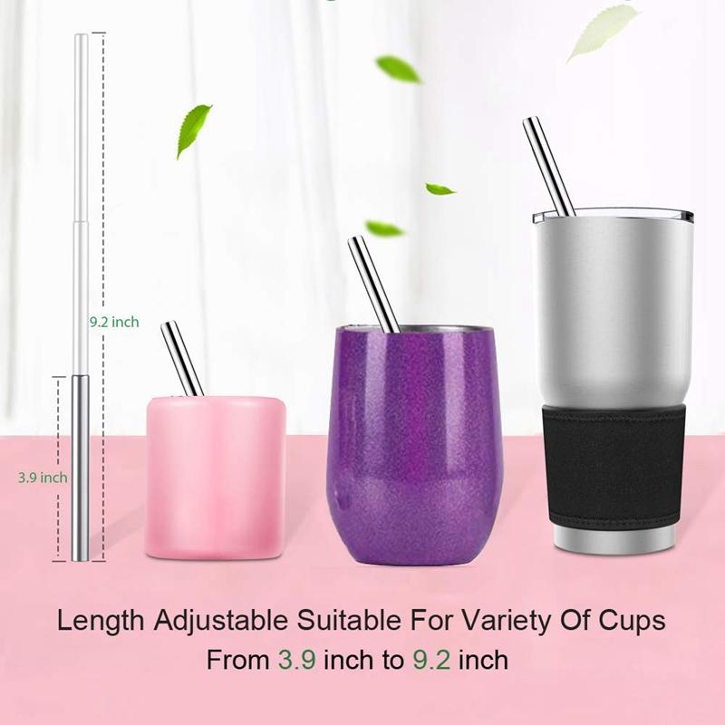 1X-Telescopic-Reusable-Drinking-Straws-Portable-Stainless-Steel-Metal-StrV1F2 thumbnail 5