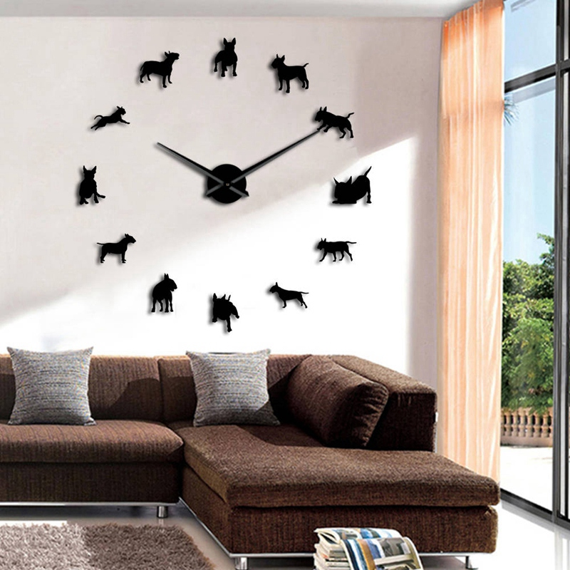 Bull-Terrier-Dog-Wall-Art-Diy-Reloj-de-Pared-Grande-Perro-Raza-Pug-Big-Need-O8T2 miniatura 3