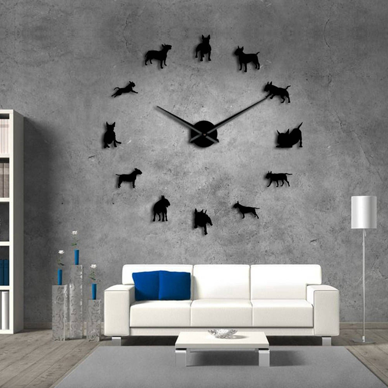 Bull-Terrier-Dog-Wall-Art-Diy-Reloj-de-Pared-Grande-Perro-Raza-Pug-Big-Need-O8T2 miniatura 4