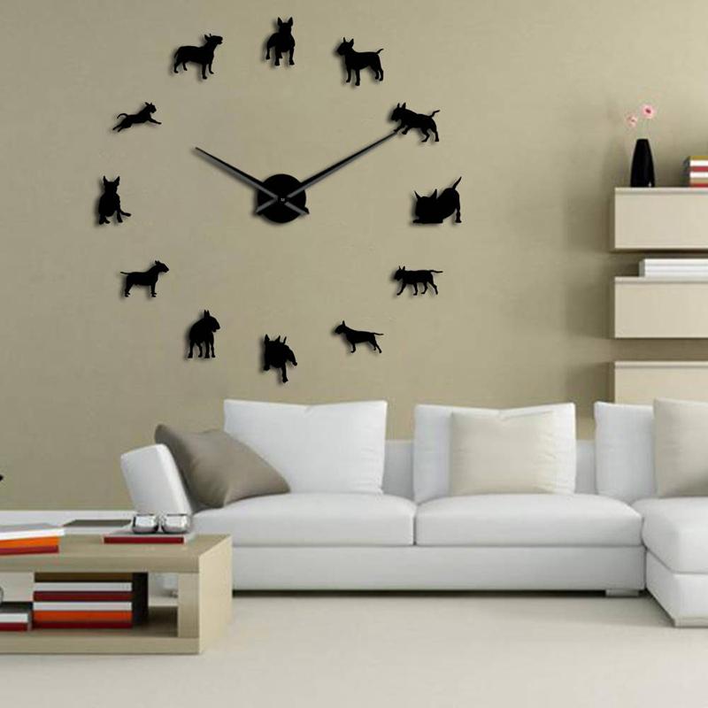 1X-Bull-Terrier-Dog-Wall-Art-Diy-Reloj-de-Pared-Grande-Perro-Raza-Pug-Big-N-V6Y2 miniatura 5