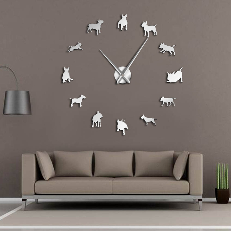 Bull-Terrier-Dog-Wall-Art-Diy-Reloj-de-Pared-Grande-Perro-Raza-Pug-Big-Need-O8T2 miniatura 9