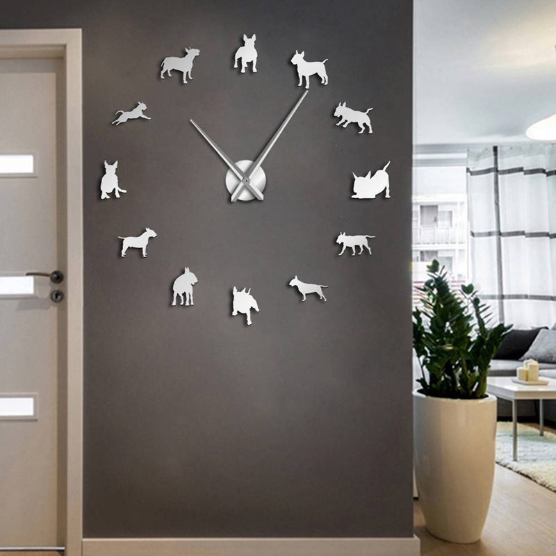 1X-Bull-Terrier-Dog-Wall-Art-Diy-Reloj-de-Pared-Grande-Perro-Raza-Pug-Big-N-V6Y2 miniatura 10