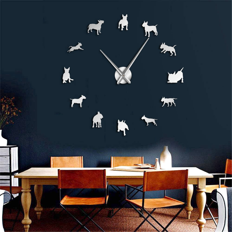 Bull-Terrier-Dog-Wall-Art-Diy-Reloj-de-Pared-Grande-Perro-Raza-Pug-Big-Need-O8T2 miniatura 11