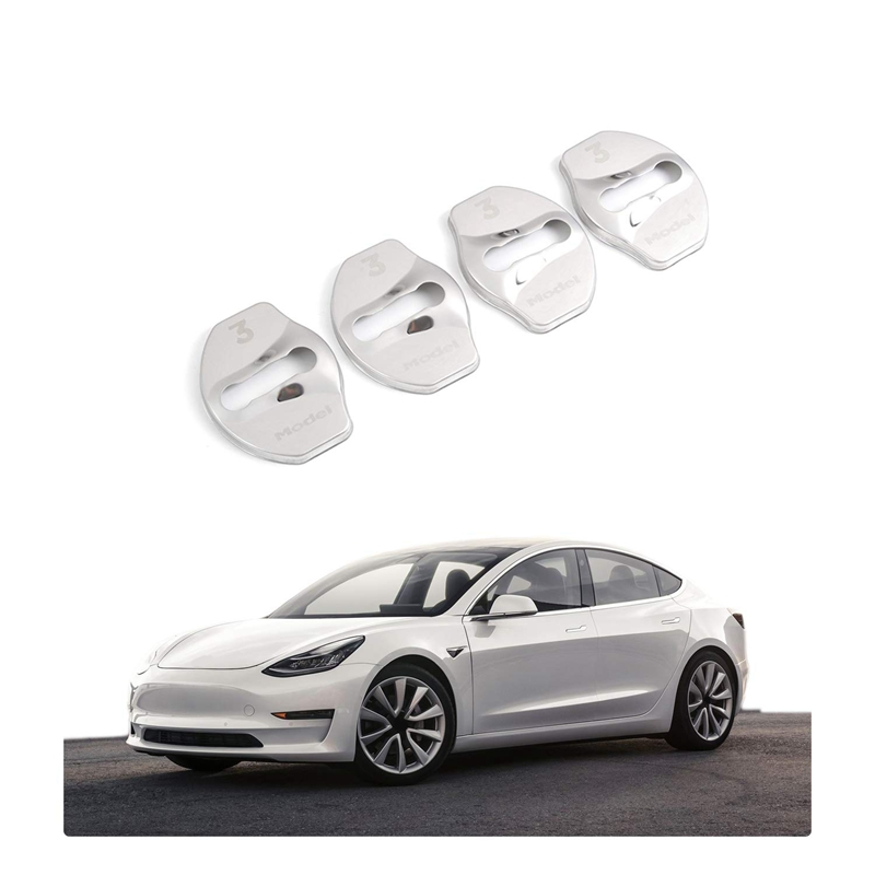 Model 3 Door Latch Lock Cover Interior Accessories Stainless Steel Cover Pack 4pcs for Tesla Model 3 carbon fiber black
