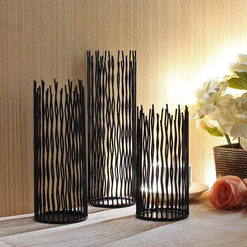 1 Set Of 3 Pcs Metal Willow Led Candle Holder Pillar Candle Holder Set 8 10 J1M7