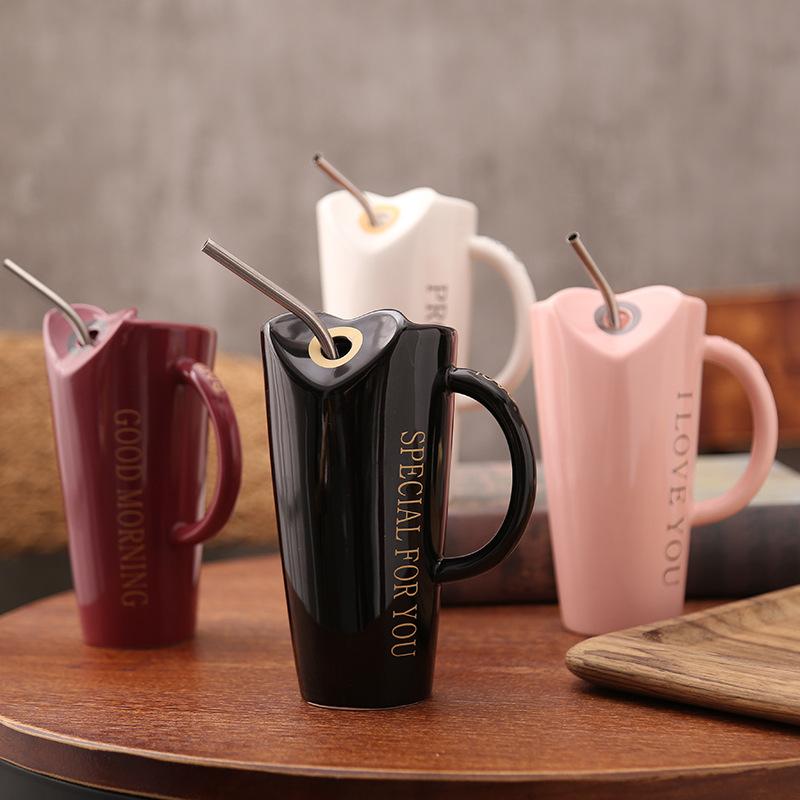Novelty-Ceramic-Cup-with-Straw-Personality-Kitchen-Coffee-Mug-Creative-Tea-M1U3 thumbnail 3