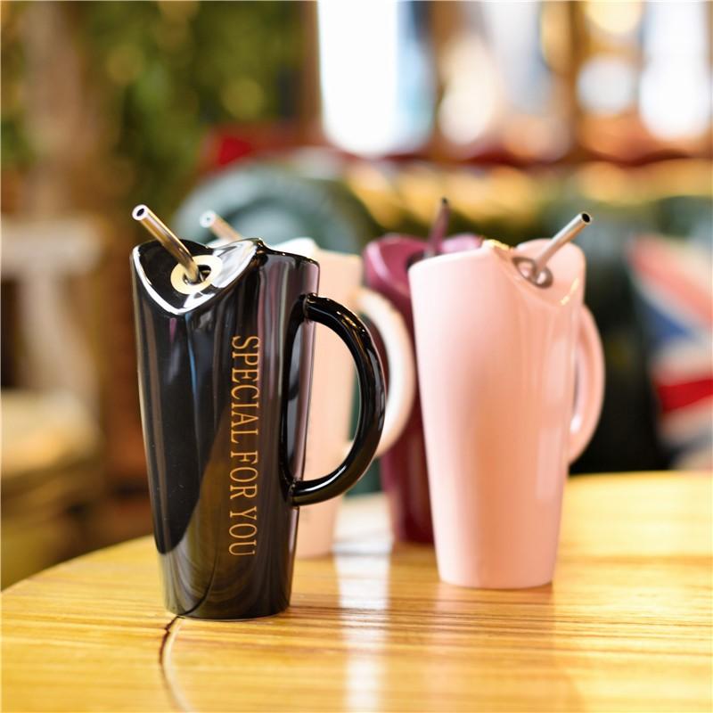 Novelty-Ceramic-Cup-with-Straw-Personality-Kitchen-Coffee-Mug-Creative-Tea-M1U3 thumbnail 4