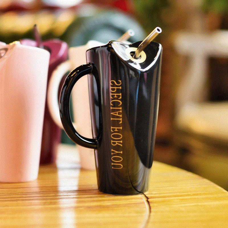 Novelty-Ceramic-Cup-with-Straw-Personality-Kitchen-Coffee-Mug-Creative-Tea-M1U3 thumbnail 5