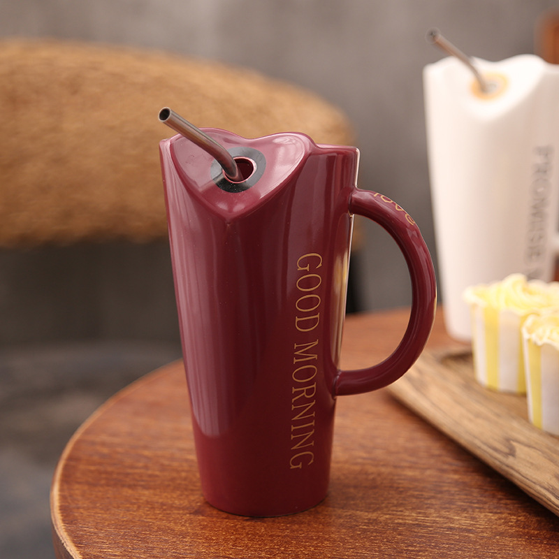 Novelty-Ceramic-Cup-with-Straw-Personality-Kitchen-Coffee-Mug-Creative-Tea-M1U3 thumbnail 6