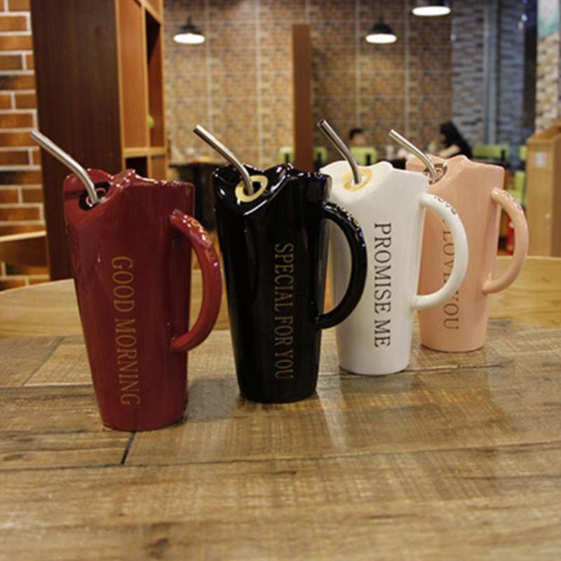 Novelty-Ceramic-Cup-with-Straw-Personality-Kitchen-Coffee-Mug-Creative-Tea-M1U3 thumbnail 7