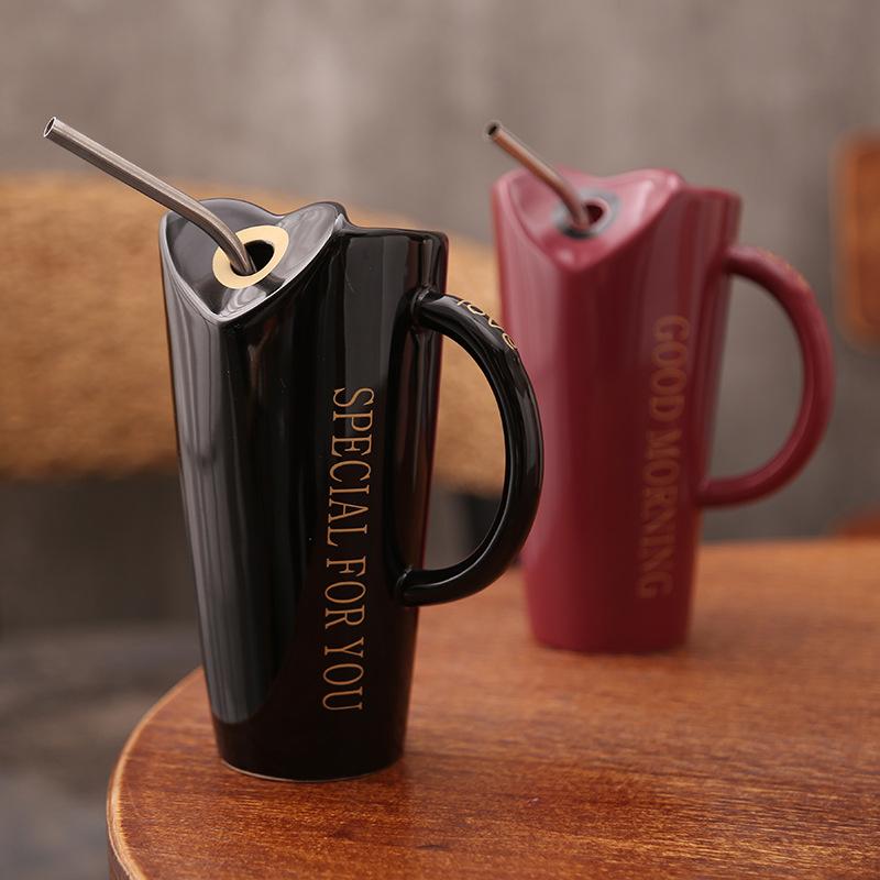 Novelty-Ceramic-Cup-with-Straw-Personality-Kitchen-Coffee-Mug-Creative-Tea-M1U3 thumbnail 32