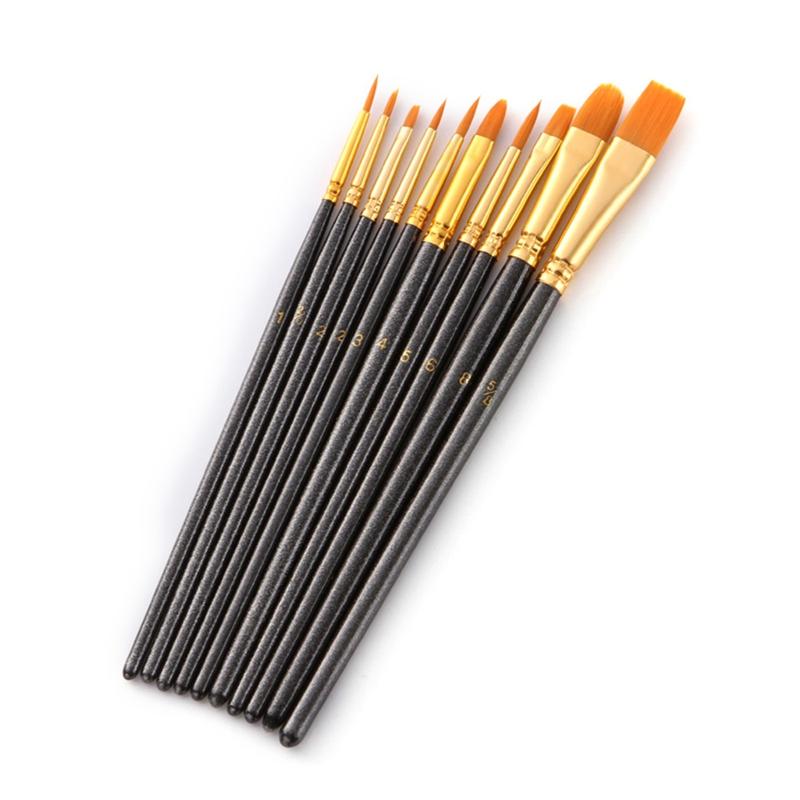 50-Pcs-Pinceaux-Brosses-en-Nylon-pour-Acrylique-Huile-Aquarelle-Peinture-Ar-X9C9 miniature 5