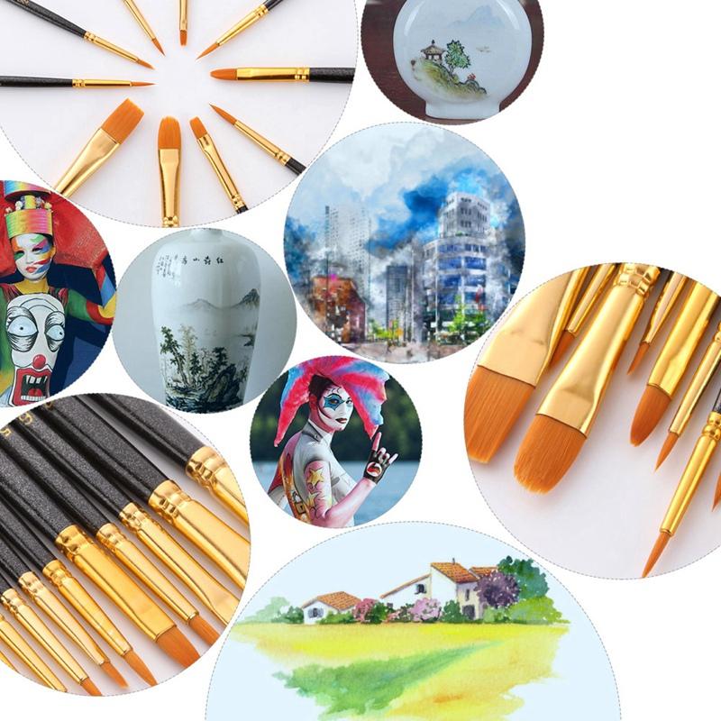 50-Pcs-Pinceaux-Brosses-en-Nylon-pour-Acrylique-Huile-Aquarelle-Peinture-Ar-X9C9 miniature 6