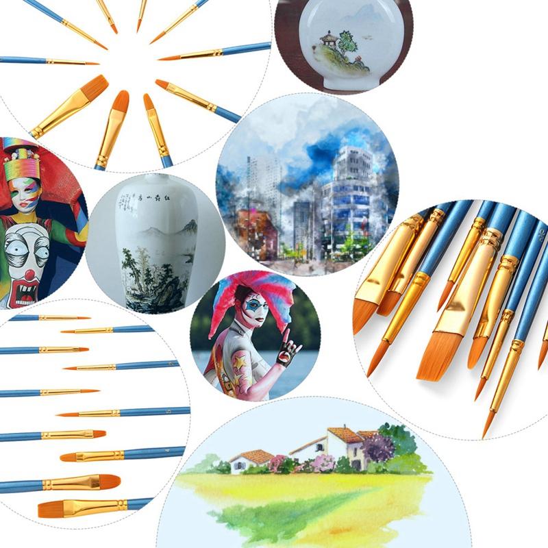50-Pcs-Pinceaux-Brosses-en-Nylon-pour-Acrylique-Huile-Aquarelle-Peinture-Ar-X9C9 miniature 11