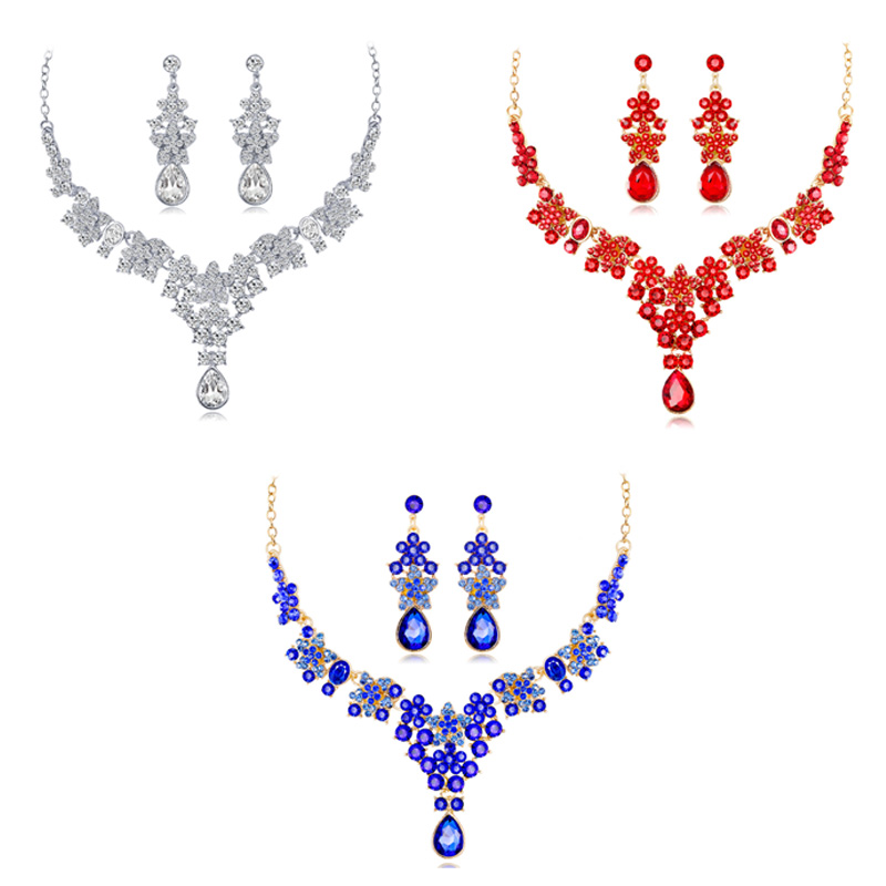 Exquisite Flower Necklace Earrings Set Bridal Fashion Crystal Rhinestone Q6Q5