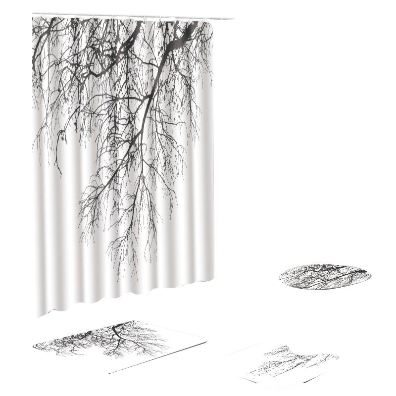 180X180Cm-ImpermeAble-Salle-de-Bains-Rideau-de-Douche-Couverture-de-Toilett-M3L4 miniature 12