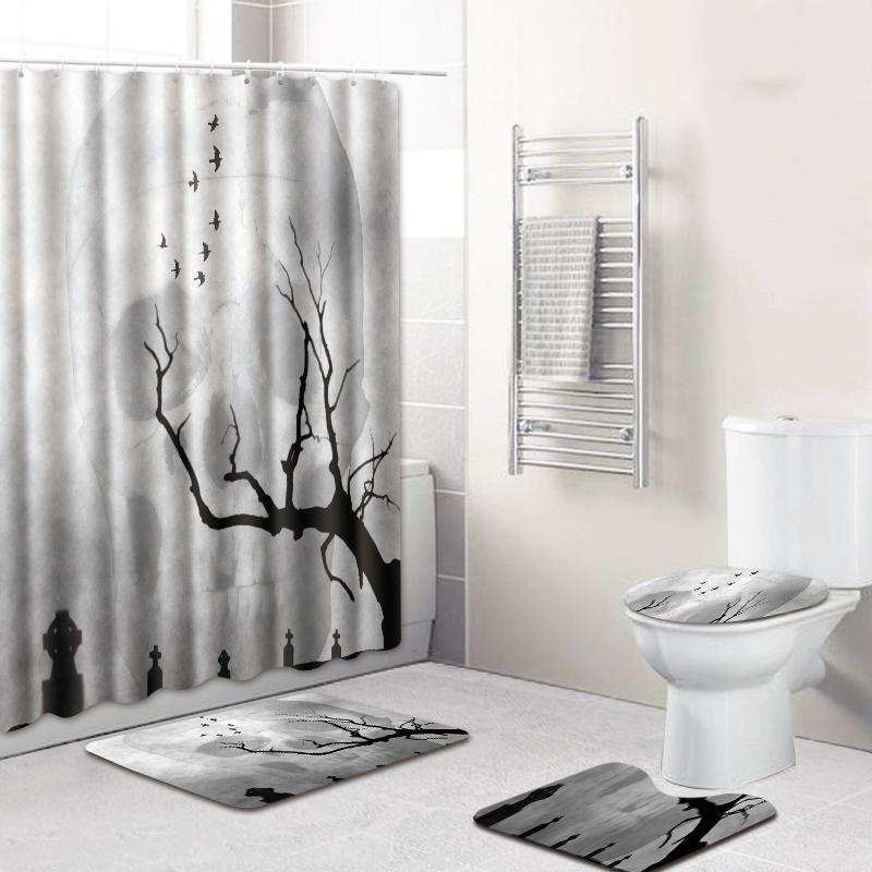 180X180Cm-ImpermeAble-Salle-de-Bains-Rideau-de-Douche-Couverture-de-Toilett-M3L4 miniature 26
