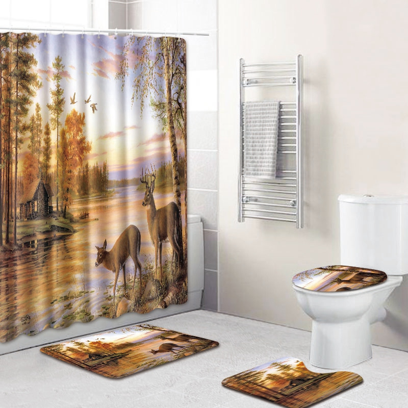 New Christmas Snowman Shower Curtain Anti-slip Bathroom Carpet Toilet Cover Pad